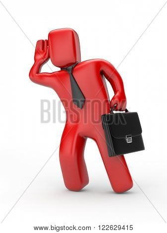 Businessman eavesdropping