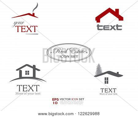 Real Estate Vector Icon set. Business logo template for Real Estate, brokerage, building, renovation businesses. Business graphics. Image may be used as web site or business card element. Sample text