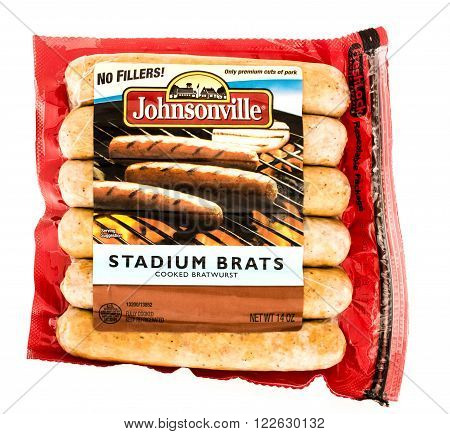 Winneconne WI - 7 August 2015: Package of Johnsonville stadium brats