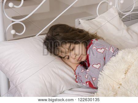 Tired Little Girl Sleeps