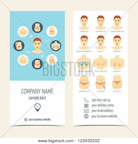 Set of flyer brochure for plastic surgery. Set of promotional products. Flat design. Vector illustration