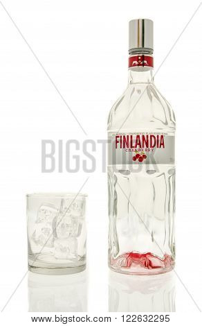 Winneconne WI - 15 March 2016: A bottle of Finlandia cranberry vodka with a glass of ice
