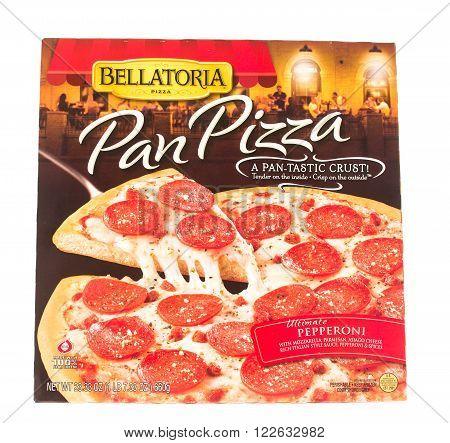 Winneconne, WI - 5 June 2015: Box of Bellatoria pan frozen ultimate pepperoni pizza.
