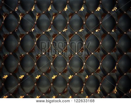 Black Buttoned Luxury Leather Pattern With Gemstones And Gold