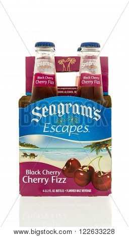 Winneconne WI - 15 March 2016: A six pack of Seagrams Escapes wine coolers in black cherry fiz flavor