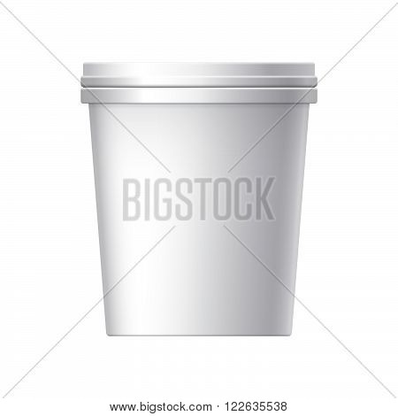 White plastic bucket with White lid. Product Packaging For food foodstuff or paints adhesives sealants primers putty. MockUp Template For Your Design. Vector illustration.