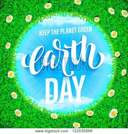 Earth Day banner. Vector lettering illustration on blue sky with panaramic green globe planet with grass. Save environment green concept.
