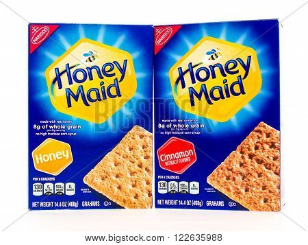 Winneconni WI - 23 June 2015: Boxes of Honey made graham cracker sin honey and cinnamon flavor