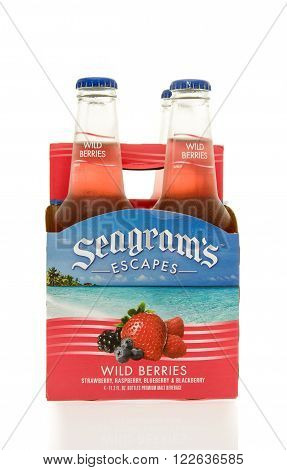 Winneconne, WI - 15 March 2016: A six pack of Seagrams Escapes wine coolers in strawberry daiquiri flavor