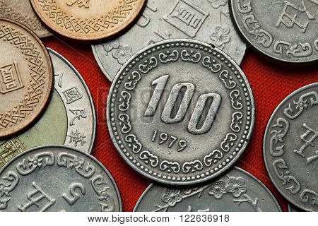 Coins of South Korea. South Korean 100 won coin.