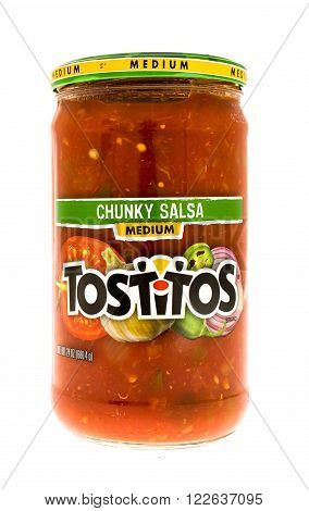 Winneconne, WI - 10 June 2015: Jar of Tostitos chunky salsa