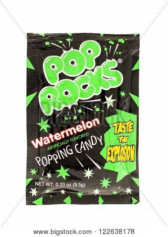 Winneconne WI - 31 May 2015: Package of Pop Rocks candy in watermelon flavor