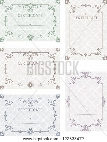 A set of certificates. Template certificates diplomas letters greetings notes in color with a vintage background in vector
