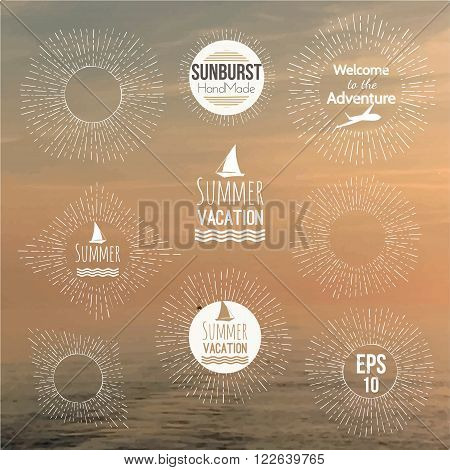 Set of hand drawn vector badges, sunburst, icon. logo, design template for Corporate, Media, Creative style and design on blurred ocean background with rising sun