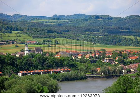 Aerial View On The Danube River And The Town Emmersdorf An Der Donau, In Lower Austria, From Stift Melk poster