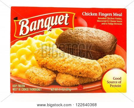 Winneconni, WI - 22 July 2015: Package of a Banquet chicken fingers meal