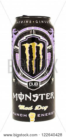 Winneconne WI - 5 June 2015: Can of Monster mad dog DUB edition drink