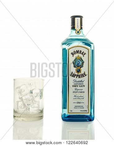 Winneconne, WI - 19 March 2016: A bottle of Bombay gin with a glass of ice.