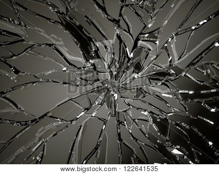 Demolished Or Shattered Glass Over Black