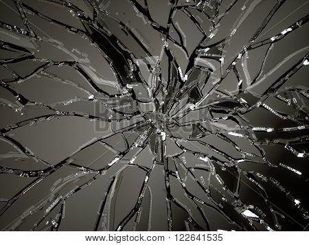 Demolished Or Shattered Glass Over Black