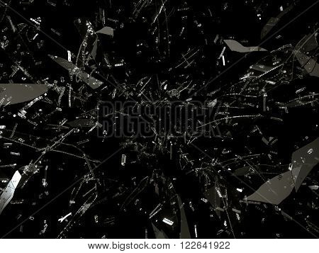 Small And Large Pieces Of Shattered Glass On Black