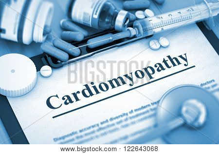 Cardiomyopathy Diagnosis, Medical Concept. Composition of Medicaments. Toned Image with Selective Focus. 3D.