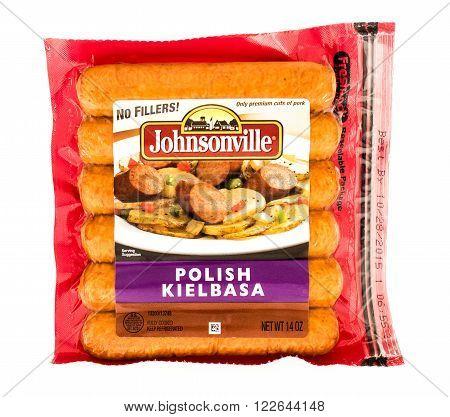 Winneconne WI - 7 August 2015: Package of Johnsonville polish kielbasa