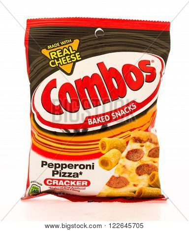 Winneconni WI - 16 June 2015: Bag of Combos in pepperoni pizza flavor