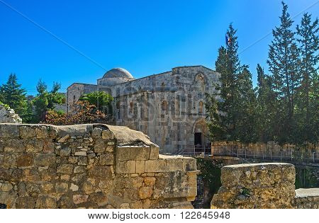The ruined Byzantine Basilica stands on the earlier Pagan Roman Temple and adjacent to the St Anne's Church in Via Dolorosa Jerusalem Israel.