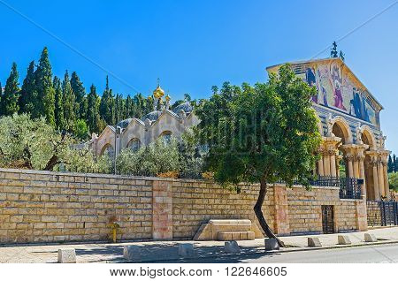 The Gethsemane Garden is adjacent to the All Nations Church Jerusalem Israel.