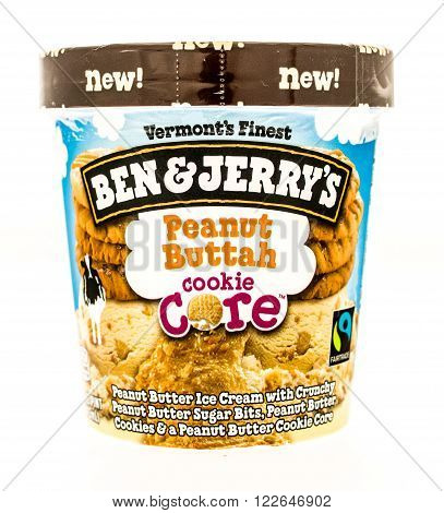 Winneconni WI - 19 July 2015: Container of Ben & Jerry's ice cream peanut buttuh cookie core flavor.