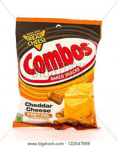 Winneconni WI - 16 June 2015: Bag of Combos in cheddar cheese flavor