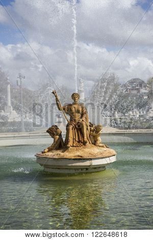 statue, fountain of the goddess ceres parterre in the garden of the palace of Aranjuez in Spain