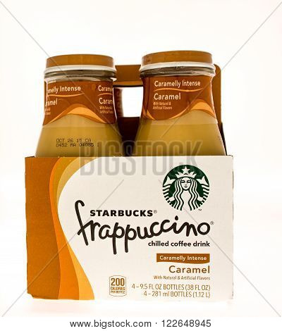 Winneconni WI - 10 June 2015: Four pack of Starbucks frappuccino in caramel flavor