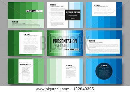 Set of 9 vector templates for presentation slides. Abstract colorful business background, blue and green colors, modern stylish striped vector texture for your cover design.