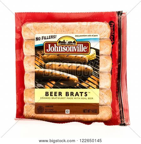 Winneconne WI - 7 August 2015: Package of Johnsonville beer brats