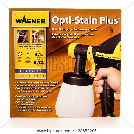 Winneconne, WI - 7 August 2015: Wagner opti-stain plus hand held sprayer.