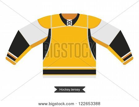 Hockey uniform in vector. Vector hockey sweater. Isolated hockey jersey. Ice hockey sweater in flat style.