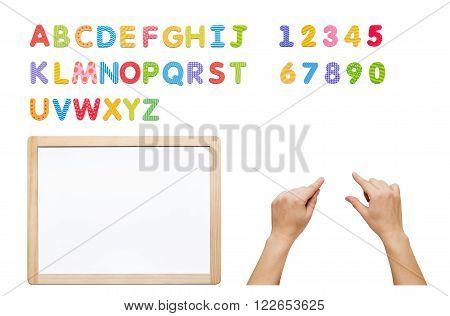 Magnetic alphabet set. Build your word with letters, whiteboard and hands. Kit isolated on white.