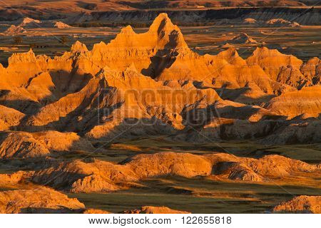 Badlands National Park in sunset, South Dakota, USA