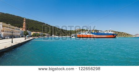 Greece, Panormitis-July 14 2014: Panorama bay on July 14, 2014 in Panormitis, Greece