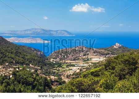 Castle Kritinia. Rhodes Island. Greece. Rhodes Island to the west by the Aegean Sea, and the east - the Mediterranean. Rhodes is often called the pearl of the Mediterranean .It is rich in natural beauty, archaeological sites.