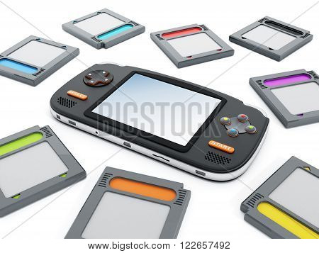 Handheld video game device and retro game cartridges.