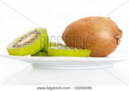 A plate with fresh kiwi isolated
