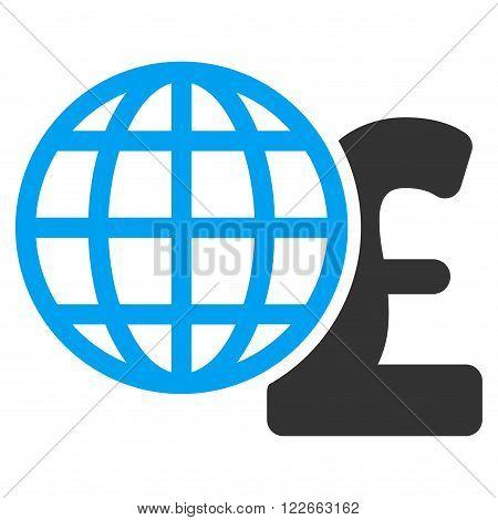 Global Pound Finances vector icon. Global Pound Finances icon symbol. Global Pound Finances icon image. Global Pound Finances icon picture. Global Pound Finances pictogram.