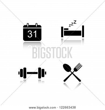 Everyday activities drop shadow icons set. Organizer day planning. Calendar, workout, eat and sleep organiser interface symbols. Cast shadow logo concepts. Vector black silhouette illustrations