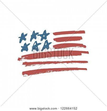 American Flag Illustration. Painted by Brush. Raster version