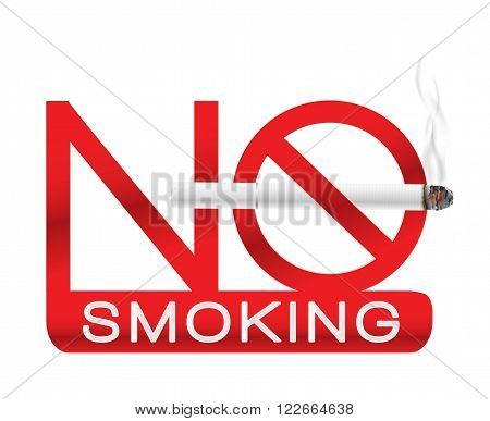 no smoking sign label with realistic white cigarette with smoke. vector