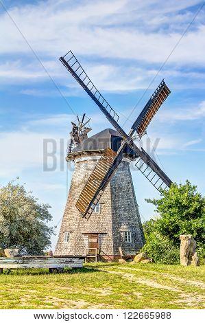 Typical Dutch windmill in Benz on Usedom island