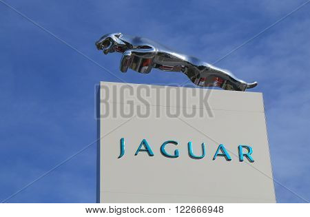 MELBOURNE AUSTRALIA - MARCH 2, 2016: Jaguar car manufacturer. Jaguar is the luxury vehicle brand of Jaguar Land Rover founded in 1922.